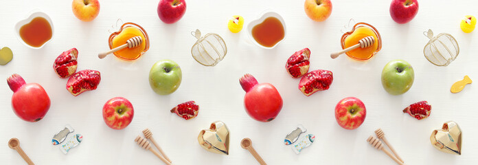 religion image of Rosh hashanah (jewish New Year holiday) concept. Traditional symbols