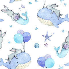 Cute seamless pattern with watercolor rabbits. Easter bunnies and whales.