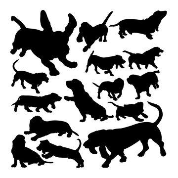 Basset hound dog animal silhouettes. Good use for symbol, logo,  web icon, mascot, sign, or any design you want.
