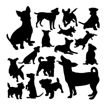 Jack russell dog animal silhouettes. Good use for symbol, logo,  web icon, mascot, sign, or any design you want.