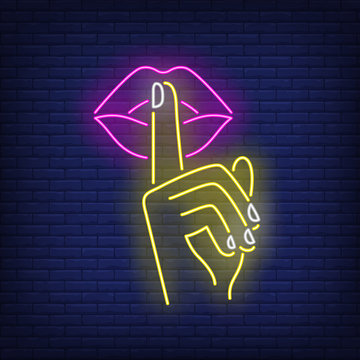 Shh gesture neon sign. Female hand, index finger on pink lips. Gestures concept. Vector illustration in neon style, glowing element for topics like silence, quiet, secret