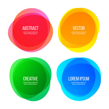 Round shape banners, abstract color graphic design elements. Vector watercolor brush gradient color frames, modern minimal creative backgrounds