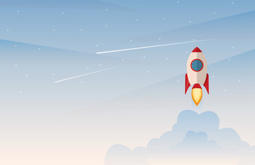 Startup business project, rocket flying above clouds. Vector illustration in flat style.