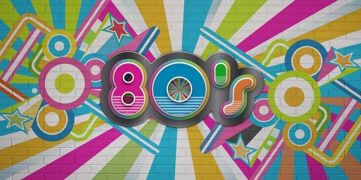 80s Party illustration banner. 3D Render Illustration