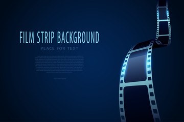Film strip roll frame cinema background with place for text. Vector cinema festival poster, banner or flyer. Art design reel cinema filmstrip template. Movie time and entertainment concept. EPS 10