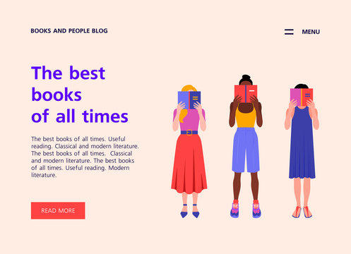 A group of women of different nations are standing and reading hiding their faces behind the books. Website template about books and education. Landing page about reading. Vector flat illustration