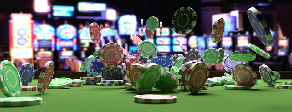 Poker chips falling on green felt roulette table, blur casino interior background. 3d illustration