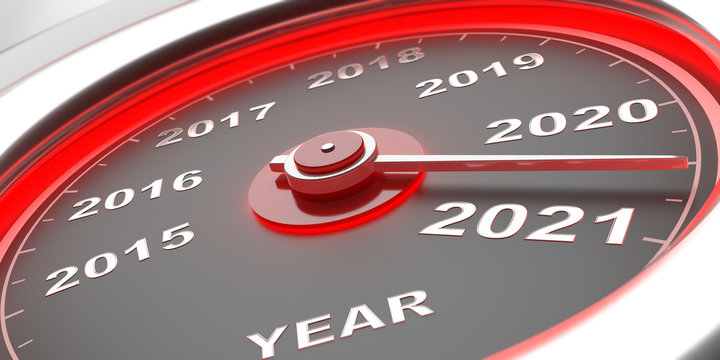 New year 2021 change, car gauge indicator between 2021 and 2020. 3d illustration