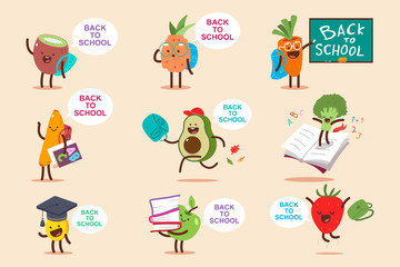 Back to school vector cartoon concept illustration with cute fruit and vegetables characters set isolated on background.