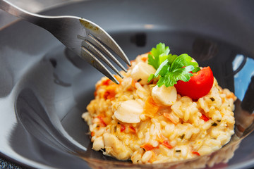 Risotto Scallops and dried tomatoes