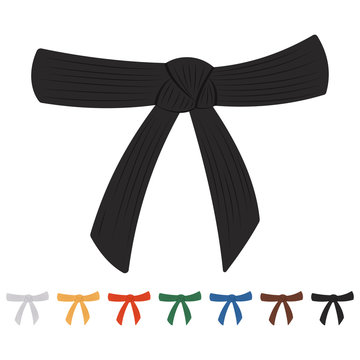 Karate belts vector cartoon set isolated on a white background.