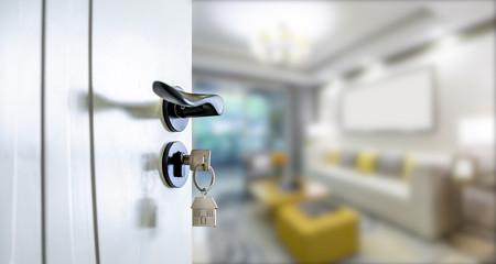 Open door with keys, key in keyhole Fototapete