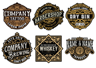 Set of 6 badges and logos