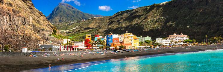 Canary islands - La Palma , Puerto de Tazacorte village with great black beach and turquoise sea