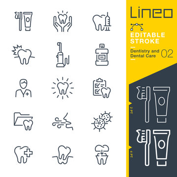 Lineo Editable Stroke - Dentistry and Dental Care line icons