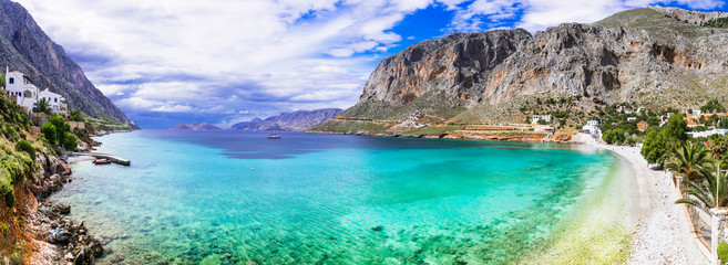 Fototapete - Beautiful nature of unspoiled greek island Kalymnos,  impressive bay and beach Arginonta. Dodecanese, Greece