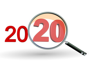 2020 review search focus results numbers red and zoom glass len - 3d rendering