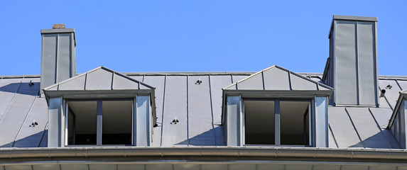 Metal standing seam roof (panoramic image)