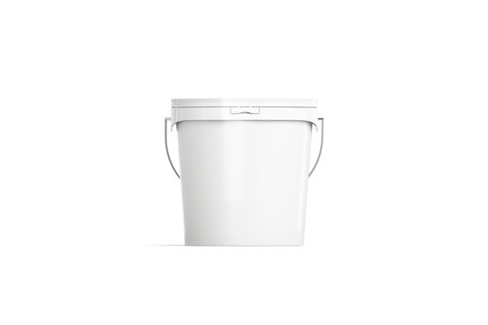 Blank white paint bucket mockup isolated, front view, 3d rendering. Empty package for ice cream or yougurt mock up. Clear sealed container with lid for housework template.