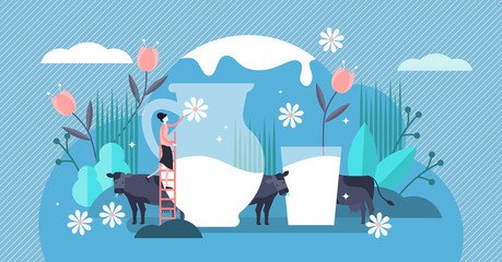 Milk vector illustration. Flat tiny fresh cow beverage drink person concept