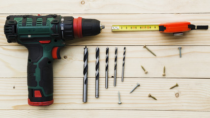 Carpenter workplace with drill and ruler Wall mural