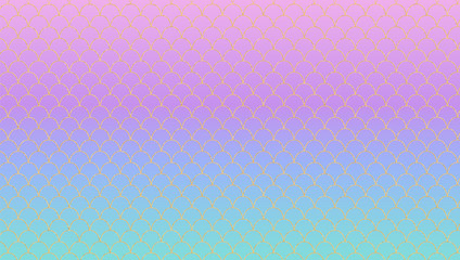 Lilac turquoise magic gradient vector background. Kawaii nacre  unicorn backdrop with golden pattern. Iridescent tail of princess mermaid. Squama texture. Scales of fish tile. Modern girly wallpaper