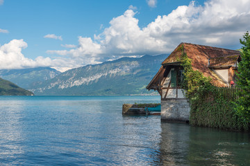 Boathouse on Lake Thun in Spiez