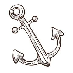 Marine symbol ship anchor isolated monochrome sketch