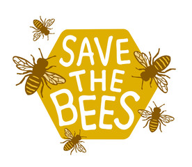 Save The Bees Design with Text
