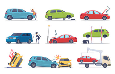 Fotobehang Cartoon cars Accident on road. Car damaged vehicle insurance transportation theif repair service traffic vector pictures collection. Illustration of crash vehicle, damage auto