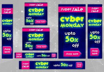 Neon Cyber Monday Web Banner Layout Set