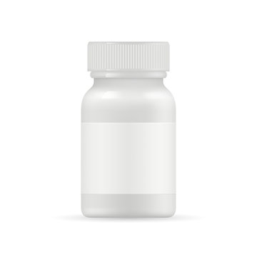 Realistic medication bottle mockup vector. White pills or drugs packing bottle isolated on white background. Illustration of pharmaceutical container for pill vitamin