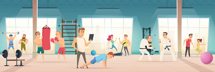 Gym interior. Inside of fitness center workout sport simulators lifestyle body ball bicycle for cardio vector background. Illustration of workout training, physical sport, art martial