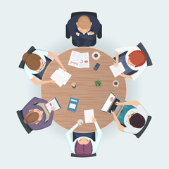 Round table top view. Business people sitting meeting corporate workspace brainstorming working team vector illustration. Table work for conference and discussion, brainstorming meeting