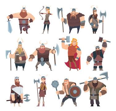 Viking cartoon. Scandinavian mythologyy characters norway costume vikings warrior male and female vector illustrations. Viking and warrior, norway scandinavian people