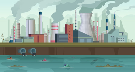 Dirty factory. Trash and smoke from urban factory production river pollution city smog in sky concept background. Pipe pollution, factory building production illustration Wall mural