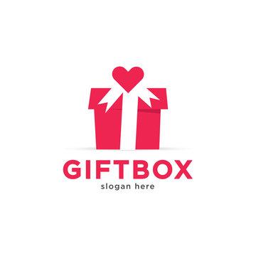 Valentine gift box logo template