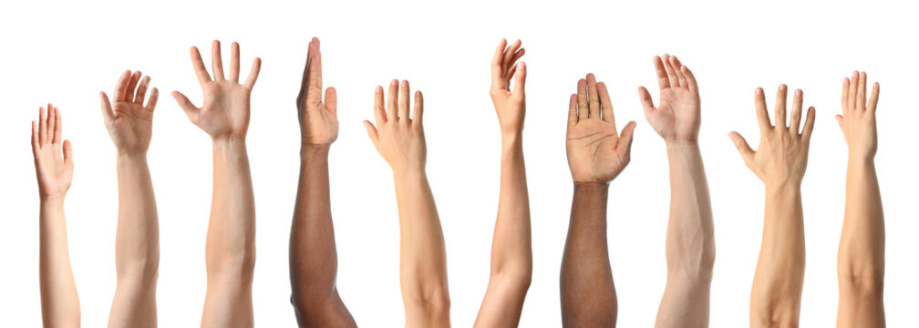 African-American man extending hand for shake on white background, closeup