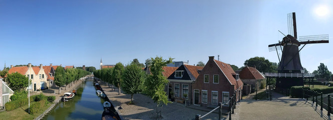 Panorama from a canal in Sloten