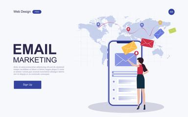 Website template design.Concept digital marketing, email Inbox electronic communication. Vector illustrations. Fototapete