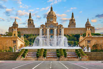 Barcelona, Spain. National Palace museum of Barcelona at Spanish Square with fountain at summer day.