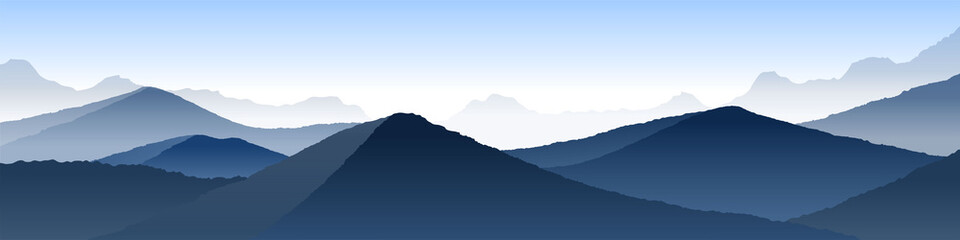 Fototapete - Vector realistic landscape. Minimalistic concept. Abstract wallpaper. Blue background. Template for web design. Silhouettes of slopes and hills. Panorama