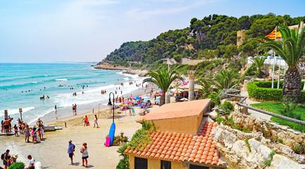 Beach and urbanization of Roc de San Gaieta, Tarragona, Catalunya, Spain, Europe Wall mural