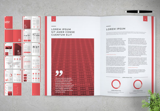 Business Proposal Layout with Red Accents