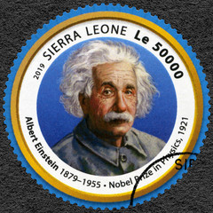 SIERRA LEONE - 2019: shows Albert Einstein (1879-1955), physicist, series Nobel Prize