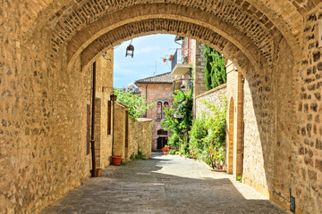 Fototapete - Medieval buildings of the old town of Assisi through a picturesque stone arch, Italy