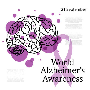 Alzheimer day background with brain silhouette and purple circles