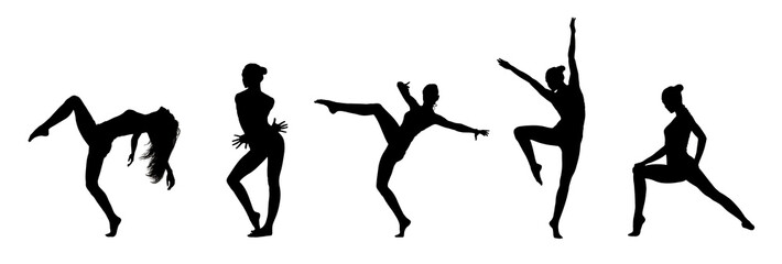 Collage Of Dancer's Black Silhouettes Isolated On White
