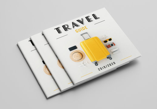 Travel Guide Layout with Blue and Orange Accents