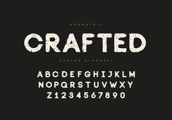 "Vintage typeface ""Crafted"" design. Alphabet and numbers. Eps10 Vector."
